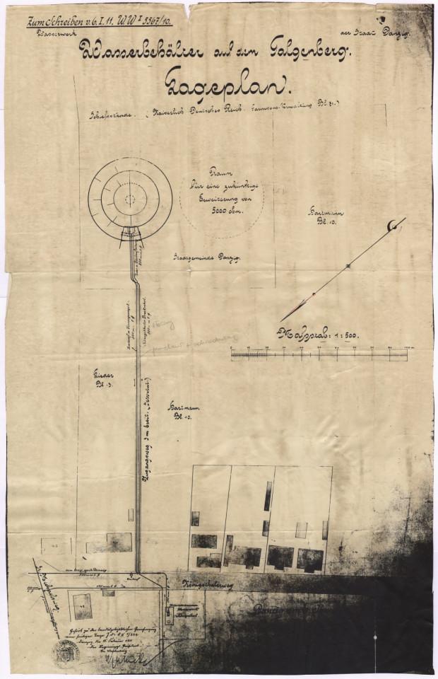 Oryginalny plan sytuacyjny zbiornika Stary Sobieski z 1911 roku.