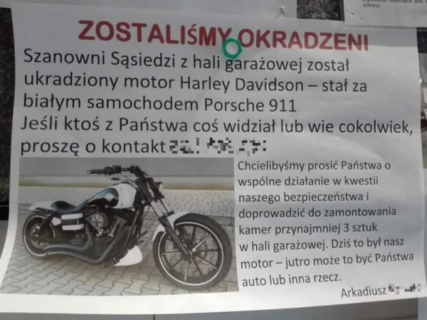 Pan Arkadiusz liczy, że jego motocykl mimo wszystko się odnajdzie.
