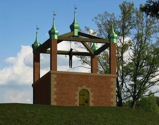 Przypuszczalny wygląd murowanej konstrukcji, która przez blisko trzy stulecia znajdowała się szczycie Szubienicznej Góry.