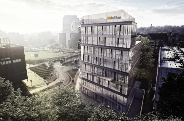 Biurowiec Eternum firmy RWS. Po prawej widać bryłę hotelu Gryf.