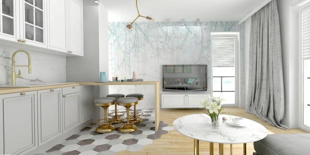 """Koncepcja pierwsza przewiduje, że podłoga z części kuchennej będzie nieregularnie """"wylewała się"""" w kierunku części drewnianej. Taki efekt można osiągnąć dzięki zastosowaniu heksagonalnych płytek."""