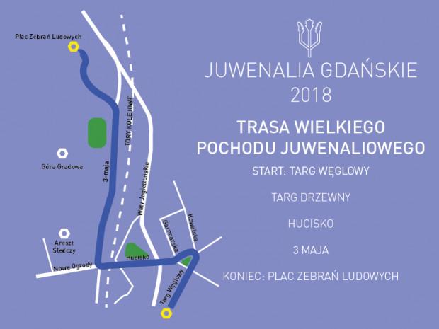 Trasa pochodu juwenaliowego biegnie od Targu Węglowego do placu Zebrań Ludowych.