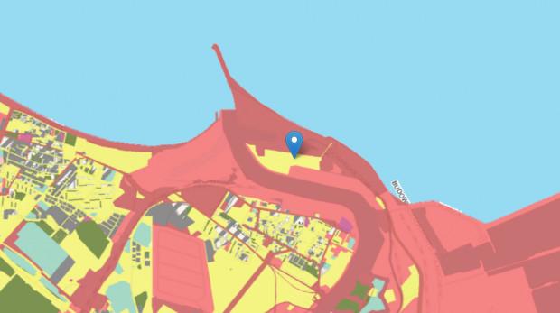 Mapa własności na Westerplatte, kolorem żółtym oznaczone są tereny miasta, czerwonym Skarbu Państwa.