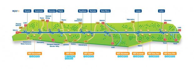 Mapa autostrady A1