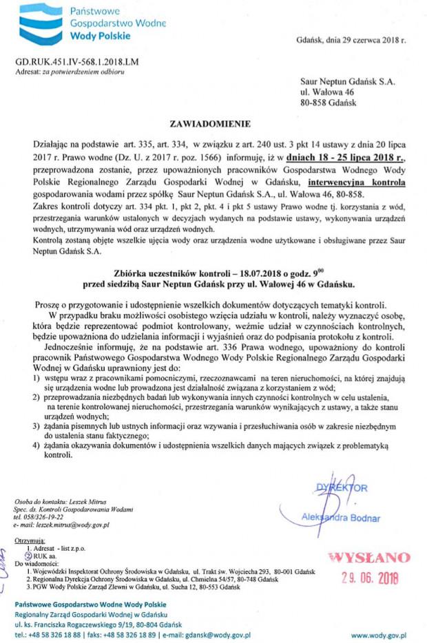 Zawiadomienie o planowanej kontroli Polskich Wód.