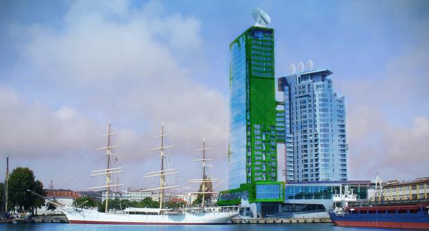 Przygotowana przez twórców wizualizacja budynku Sea Towers porośniętego zielenią, która pnie się do góry.