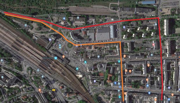 Główne ścieżki dojazdu i wyjazdu ze Śródmieścia w kierunku Janka Wiśniewskiego