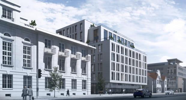 Wstępna wizualizacja budynku przy Banku Polskim w Gdyni.