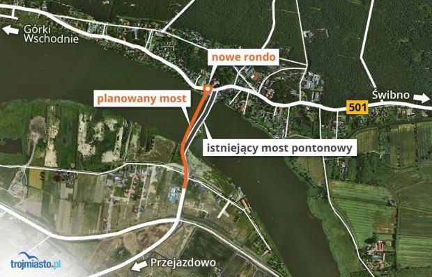 Lokalizacja mostu w Sobieszewie