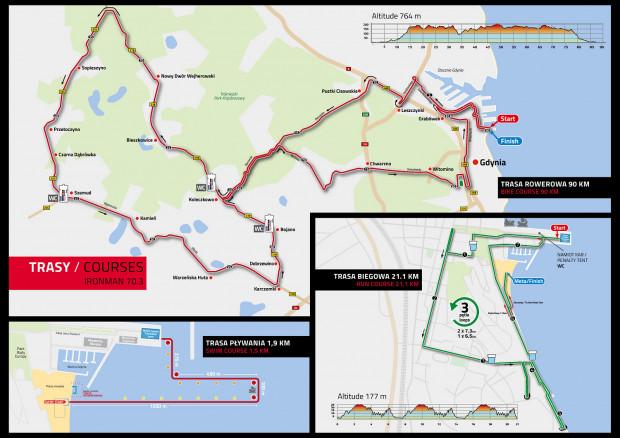 Trasy głównych zawodów Ironman 70.3