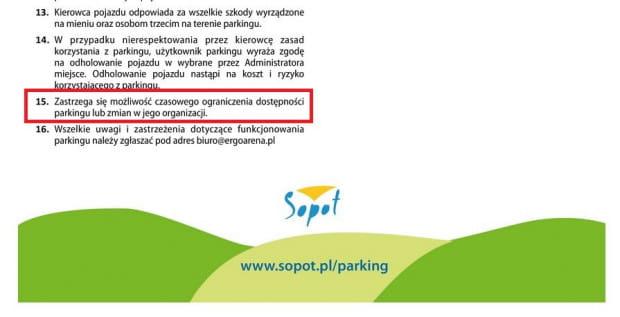 Regulamin przewiduje czasowe ograniczenie dostępności parkingu lub zmian w jego organizacji.