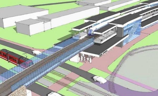 Stacja Kolei Metropolitalnej, Gdańsk-Abrahama. Z prawej strony widać istniejącą pętlę tramwajową.