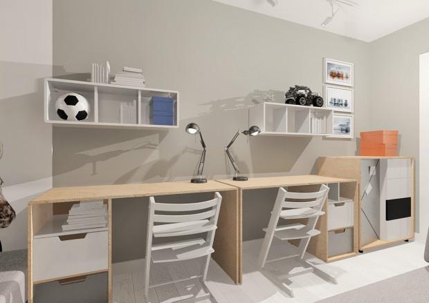 Koncepcja druga. Przy jednej ze ścian stoją dwa biurka.