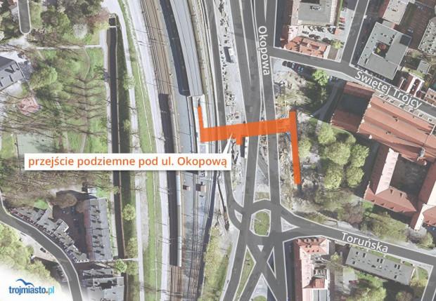 Lokalizacja tunelu pod ulicą Okopową. Łączy on przystanek SKM Śródmieście z ul. Toruńską.