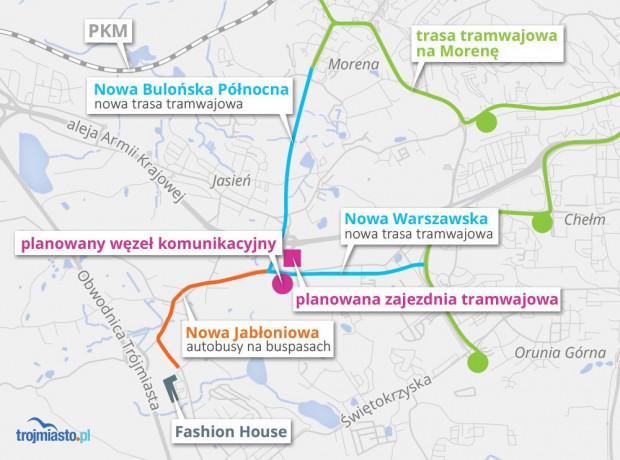 Plan najbliższej rozbudowy tras tramwajowych na południu Gdańska według administracji Pawła Adamowicza.