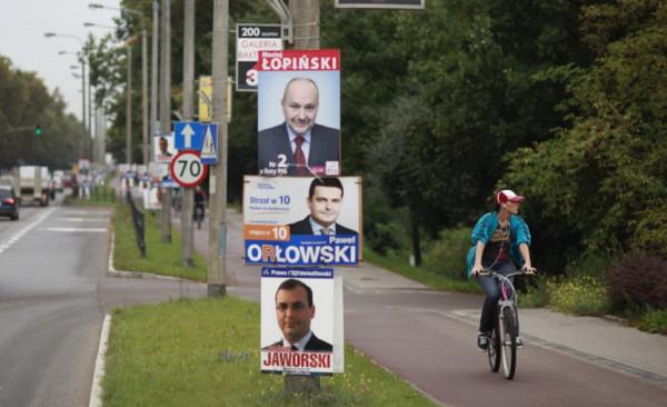 Reklama na latarniach jest niezgodna z uchwałą krajobrazową, ale w tych wyborach zakaz ten będzie obowiązywał dopiero po wyborach do rady miasta (21 października).