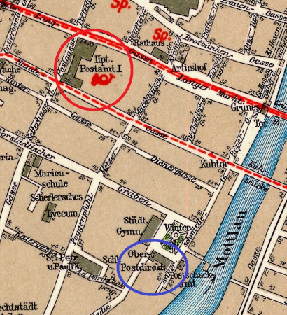 Fragment planu Gdańska z 1933 r. Kolorem czerwonym zaznaczono gdański główny urząd pocztowy nr 1 między ul. Długą a Ogarną, niebieskim zaś gmach dyrekcji poczty i telegrafu Wolnego Miasta przy Targu Maślanym.