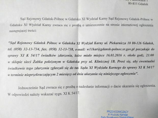 Świadkowie zdarzenia w Żabce na ul. Klinicznej w Gdańsku proszeni są o kontakt z Sądem Rejonowym Gdańsk-Północ.