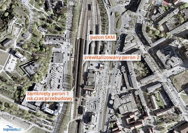Przebudowa peronów na stacji Gdańsk Główny.