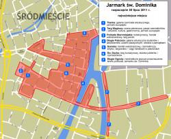 Zobacz, na których ulicach w centrum Gdańska odbędzie się Jarmark św. Dominika.