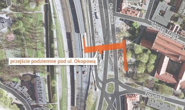 Lokalizacja tunelu pod ul. Okopową.