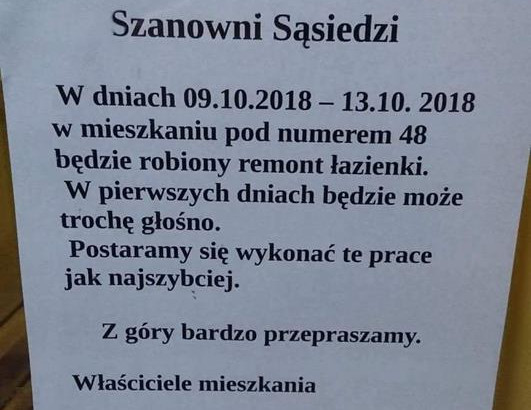 Taką kartkę zobaczyli na klatce swojego bloku mieszkańcy Gdyni.