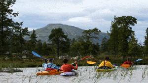 Krajobraz szwedzkich jezior różni się od naszych pojezierzy, tu dominują skały i góry.