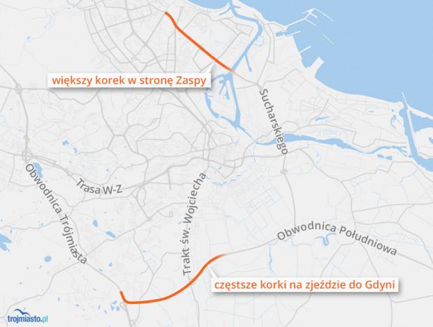 Miejsca, w których zostaną spotęgowane korki po otwarciu drogi S7 na Żuławach.
