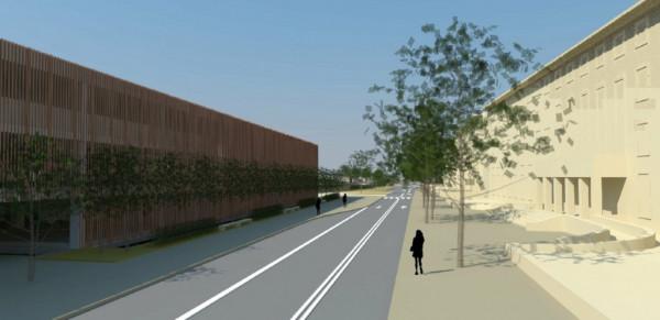 Ulica Okopowa z nowym parkingiem kubaturowym.