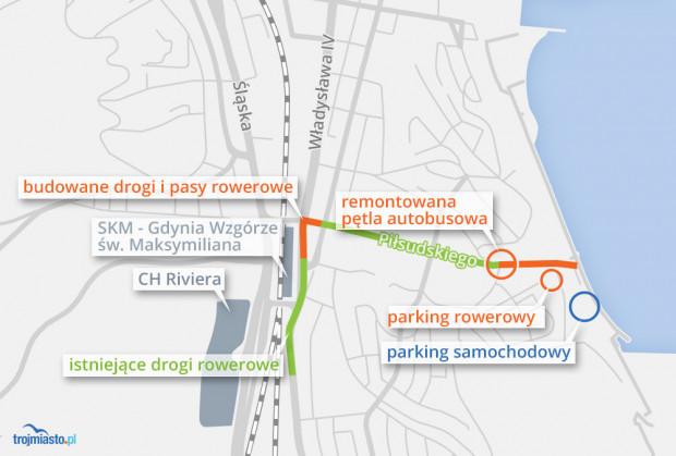 Drogi rowerowe w okolicach al. Piłsudskiego.