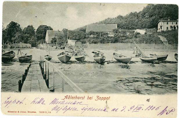 Przystań rybacka w Orłowie. Wyd. Römmler & Jonas, Drezno, 1906 r. Ze zbiorów Muzeum Miasta Gdyni
