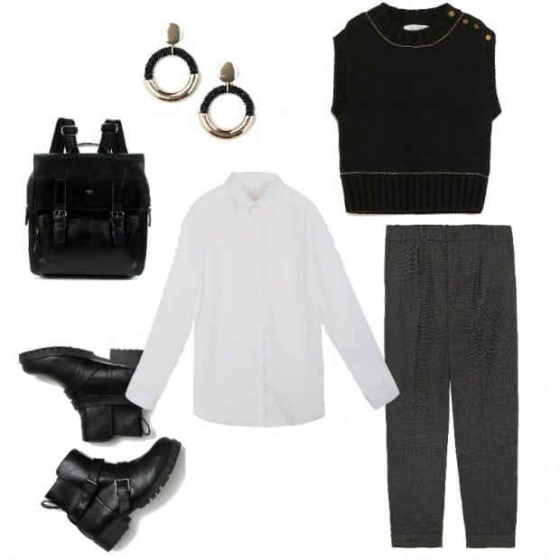 Plecak Daag, kolczyki H&M, kamizelka Zara, koszula Top Secret, buty H&M, spodnie Zara