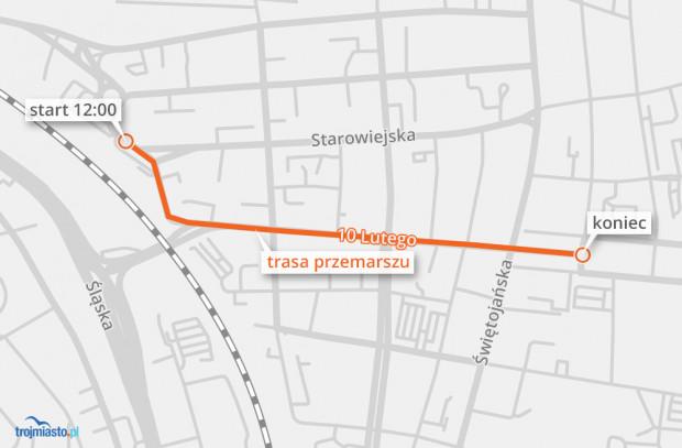 Trasa Parady Niepodległości 2018 w Gdyni.