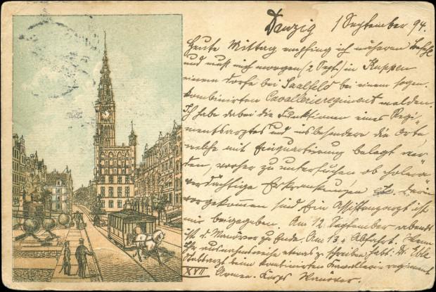 Pocztówka z tramwajem konnym na Długim Targu.