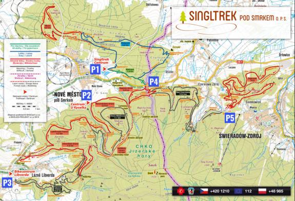 Mapa znakowanych ścieżek leśnych oraz parkingi, skąd rozpocząć przygodę