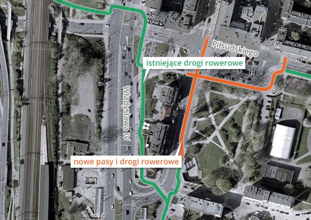 Dzięki zmianom została zachowana ciągłość dróg rowerowych w tym miejscu.