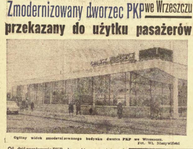 Artykuł informujący o oddaniu przebudowanego dworca kolejowego we Wrzeszczu (Dziennik Bałtycki z 8 marca 1969.)