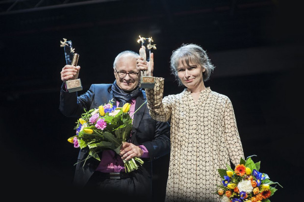 Laureaci Nagrody Europejki Poeta Wolności 2018 - Linda Vilhjálmsdóttir (autorka) oraz Jacek Godek (tłumacz).