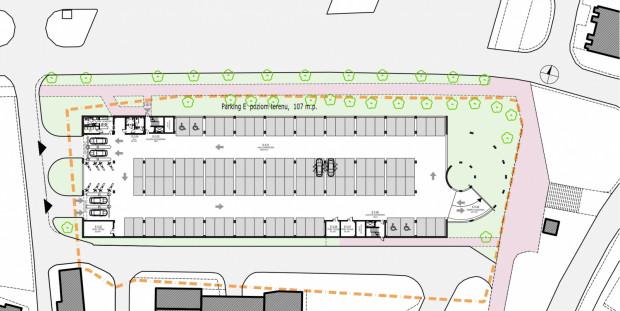 Projekt zagospodarowania terenu na poziomie parteru: u góry ul. Długie Ogrody, po prawej schody przejścia podziemnego pod Węzłem Brama Żuławska