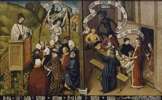 Słuchanie kazania (z lewej) i zabawa w karczmie (z prawej).