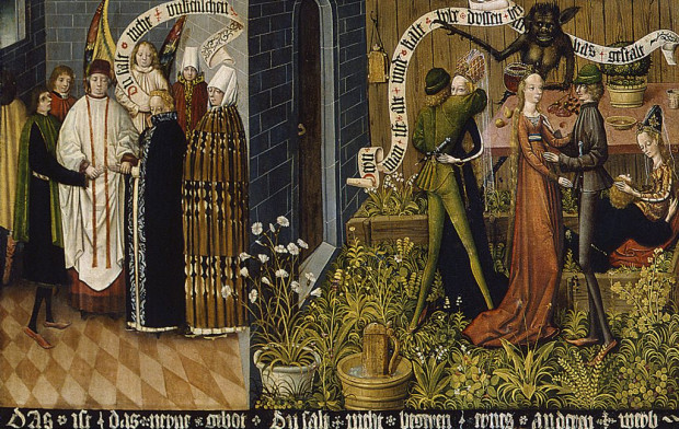 """Ceremonia zawarcia małżeństwa (z lewej) i rozwiązłość w """"Ogrodzie Miłości"""" (z prawej) - miejscu spotkań towarzyskich i zabaw dworskich."""