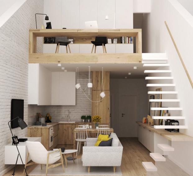 Antresola to co prawda nie to samo co dwupoziomowe mieszkanie, ale zapewnia ciekawą aranżację, umożliwia urządzenie na wyższym poziomie sypialni, pracowni czy przestrzeni dla dzieci.