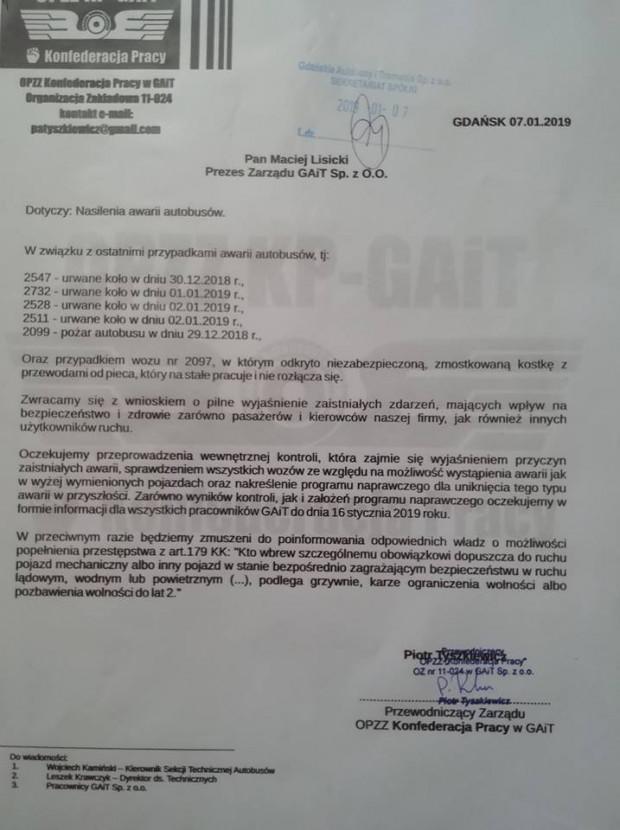 Pismo, jakie związkowcy złożyli na biurku prezesa GAiT Macieja Lisickiego.