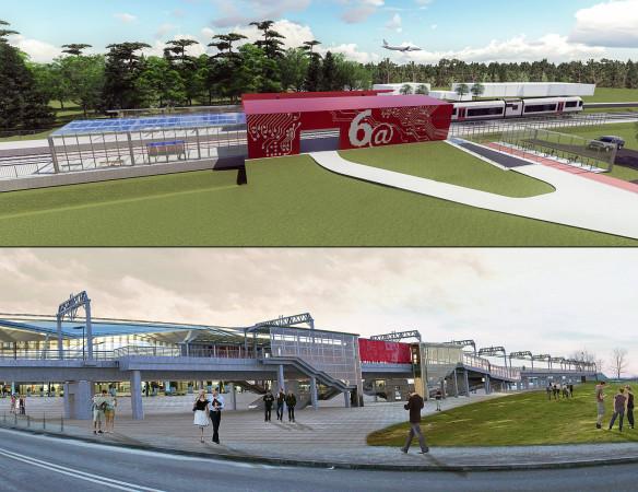 Wizualizacja nowego przystanku Firoga 6@ u góry i przystanek Port Lotniczy z uwzględnieniem elektryfikacji.