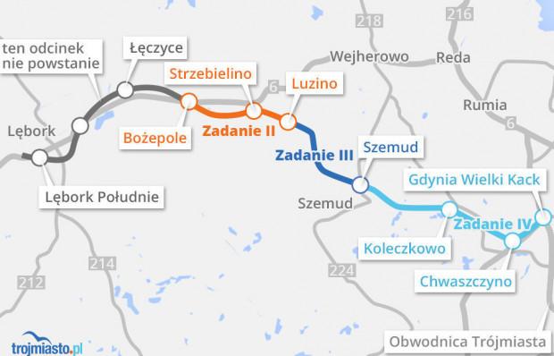 Przebieg poszczególnych odcinków Trasy kaszubskiej.