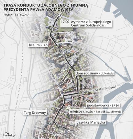 Kondukt przejdzie w pobliżu miejsc, z którymi związany był tragicznie zmarły Paweł Adamowicz.
