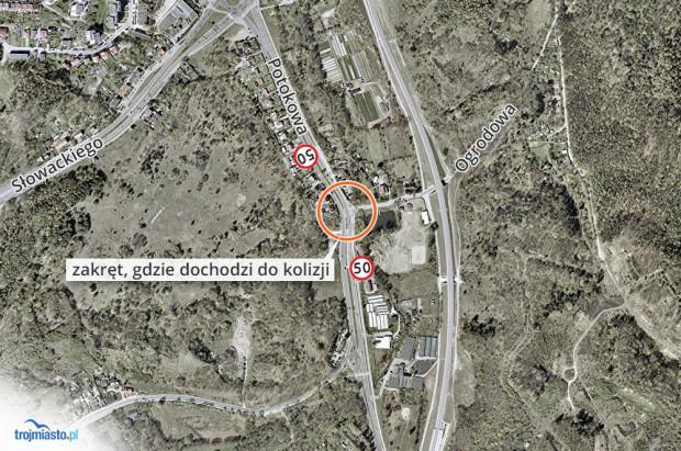 Pechowy zakręt jest zlokalizowany na ul. Potokowej. Wypadają z niego kierowcy jadący z Niedźwiednika na Morenę.