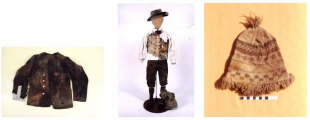 """Fragmenty strojów XVIII wiecznych angielskich marynarzy, wydobyte z """"Generała Carltona""""."""