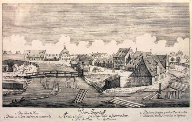 Dwór Smolny na Wyspie Spichrzów. Rycina Matthaeusa Deischa 1761-1765.