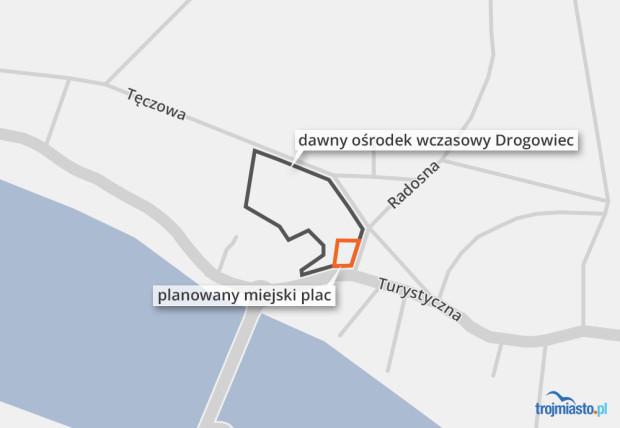 Lokalizacja miejskiego placu w Sobieszewie.